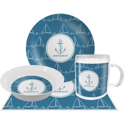 Rope Sail Boats Dinner Set - 4 Pc (Personalized)