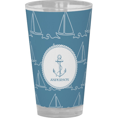 Rope Sail Boats Drinking / Pint Glass (Personalized)