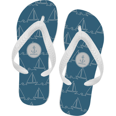 Rope Sail Boats Flip Flops - XSmall (Personalized)