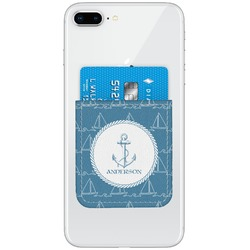 Rope Sail Boats Genuine Leather Adhesive Phone Wallet (Personalized)