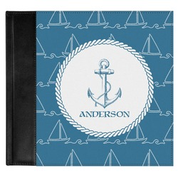 Rope Sail Boats Genuine Leather Baby Memory Book (Personalized)