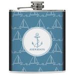 Rope Sail Boats Genuine Leather Flask (Personalized)