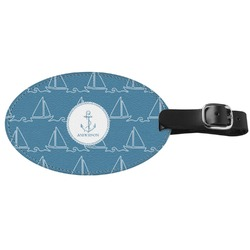 Rope Sail Boats Genuine Leather Oval Luggage Tag (Personalized)