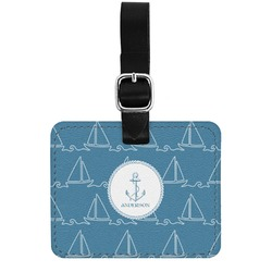 Rope Sail Boats Genuine Leather Rectangular  Luggage Tag (Personalized)