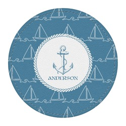Rope Sail Boats Round Desk Weight - Genuine Leather  (Personalized)
