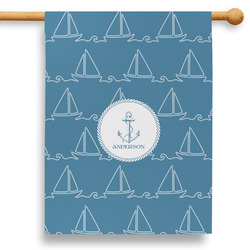 """Rope Sail Boats 28"""" House Flag (Personalized)"""