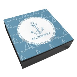 Rope Sail Boats Leatherette Keepsake Box - 8x8 (Personalized)