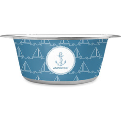 Rope Sail Boats Stainless Steel Pet Bowl (Personalized)
