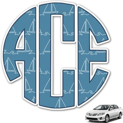 Rope Sail Boats Monogram Car Decal (Personalized)