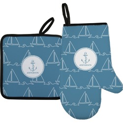 Rope Sail Boats Oven Mitt & Pot Holder (Personalized)