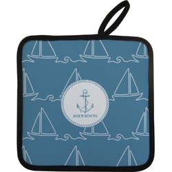 Rope Sail Boats Pot Holder w/ Name or Text
