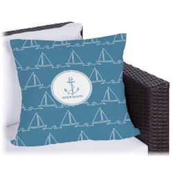 """Rope Sail Boats Outdoor Pillow - 18"""" (Personalized)"""