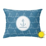 Rope Sail Boats Outdoor Throw Pillow (Rectangular) (Personalized)
