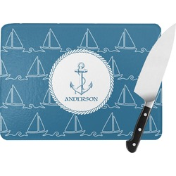Rope Sail Boats Rectangular Glass Cutting Board (Personalized)