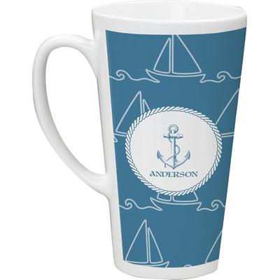 Rope Sail Boats 16 Oz Latte Mug (Personalized)