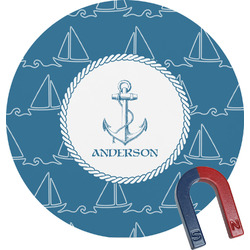Rope Sail Boats Round Magnet (Personalized)