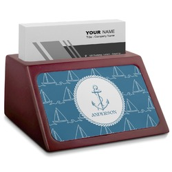 Rope Sail Boats Red Mahogany Business Card Holder (Personalized)