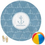Rope Sail Boats Round Beach Towel (Personalized)