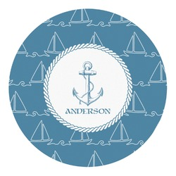 Rope Sail Boats Round Decal - Small (Personalized)