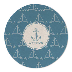 Rope Sail Boats Round Linen Placemat (Personalized)