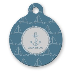 Rope Sail Boats Round Pet Tag (Personalized)