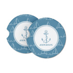 Rope Sail Boats Sandstone Car Coasters (Personalized)