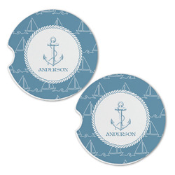 Rope Sail Boats Sandstone Car Coasters - Set of 2 (Personalized)