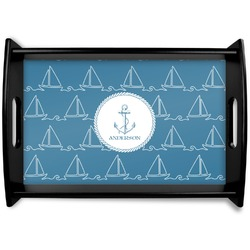 Rope Sail Boats Black Wooden Tray (Personalized)