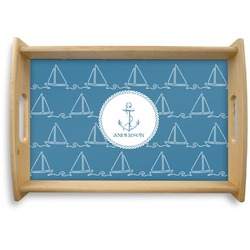 Rope Sail Boats Natural Wooden Tray (Personalized)