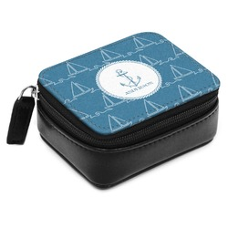 Rope Sail Boats Small Leatherette Travel Pill Case (Personalized)