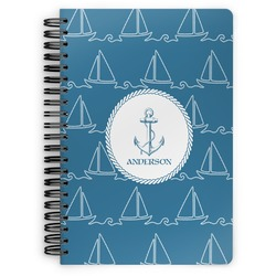 Rope Sail Boats Spiral Notebook (Personalized)