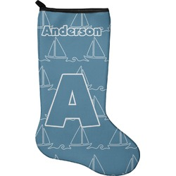Rope Sail Boats Christmas Stocking - Neoprene (Personalized)