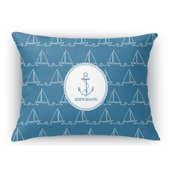 Rope Sail Boats Rectangular Throw Pillow Case (Personalized)