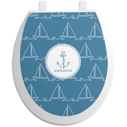 Rope Sail Boats Toilet Seat Decal - Round (Personalized)