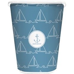 Rope Sail Boats Waste Basket - Single Sided (White) (Personalized)