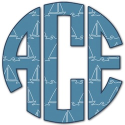 Rope Sail Boats Monogram Decal - Custom Sized (Personalized)