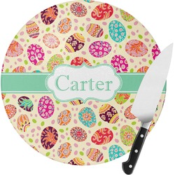 Easter Eggs Round Glass Cutting Board - Small (Personalized)