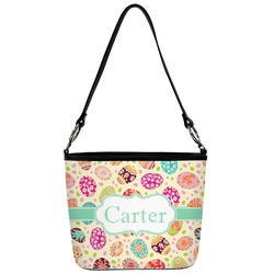 Easter Eggs Bucket Bag w/ Genuine Leather Trim (Personalized)