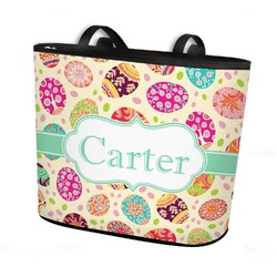 Easter Eggs Bucket Tote w/ Genuine Leather Trim (Personalized)