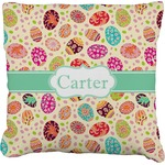 Easter Eggs Faux-Linen Throw Pillow (Personalized)