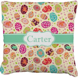 Easter Eggs Burlap Throw Pillow (Personalized)