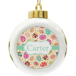 Easter Eggs Ceramic Ball Ornament (Personalized)