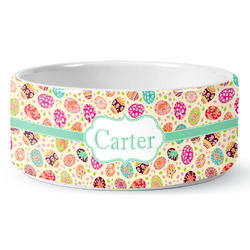 Easter Eggs Ceramic Dog Bowl (Personalized)