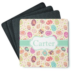 Easter Eggs 4 Square Coasters - Rubber Backed (Personalized)