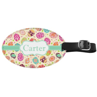 Easter Eggs Genuine Leather Oval Luggage Tag (Personalized)