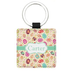 Easter Eggs Genuine Leather Rectangular Keychain (Personalized)