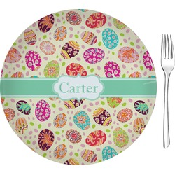 """Easter Eggs Glass Appetizer / Dessert Plate 8"""" (Personalized)"""