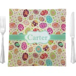 """Easter Eggs Glass Square Lunch / Dinner Plate 9.5"""" - Single or Set of 4 (Personalized)"""