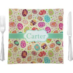 """Easter Eggs 9.5"""" Glass Square Lunch / Dinner Plate- Single or Set of 4 (Personalized)"""
