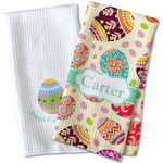 Easter Eggs Waffle Weave Kitchen Towel (Personalized)